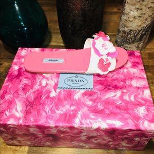 NWT Flower Embellished Prada Floral Slide Sandals